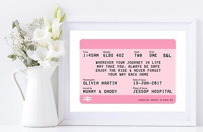 New Baby Gift Nursery Print Artwork Train Ticket Style to Welcome a New Arrival