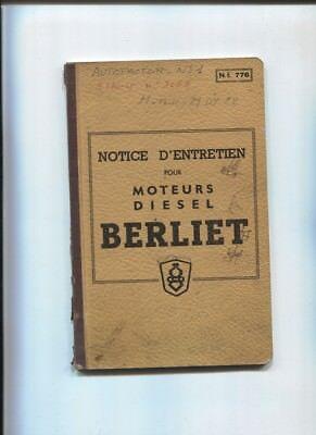 Berliet : Notice D'entretien Pour Moteur Diesel Avril 1957 Om Digest Greasy Food Te Helpen
