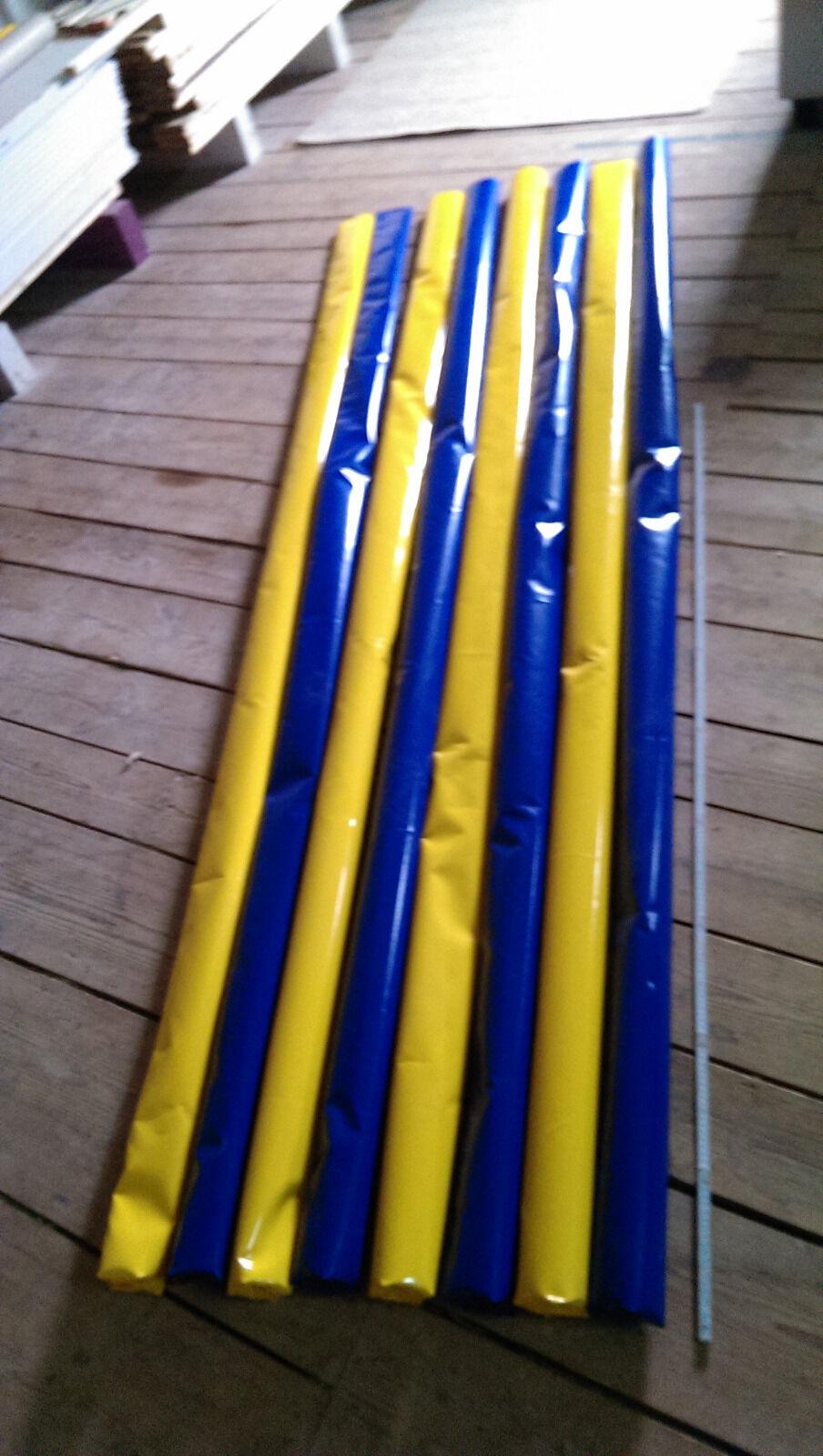 4 Bodenarbeit Stangen 2 Blau 2 Gelb 3,2m Gefüllt Trabstangen dual aktivierung