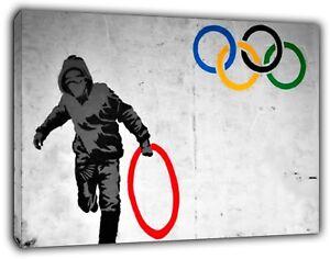 Banksy Anneaux Olympiques Voyou Réimpression Sur Encadrée Toile Mural Art Maison Décoration-afficher Le Titre D'origine