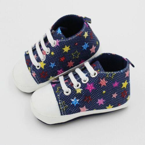Newborn Baby Boy Girl Canvas Crib Shoes Printed Prewalker Soft Sole Sneaker0-18M