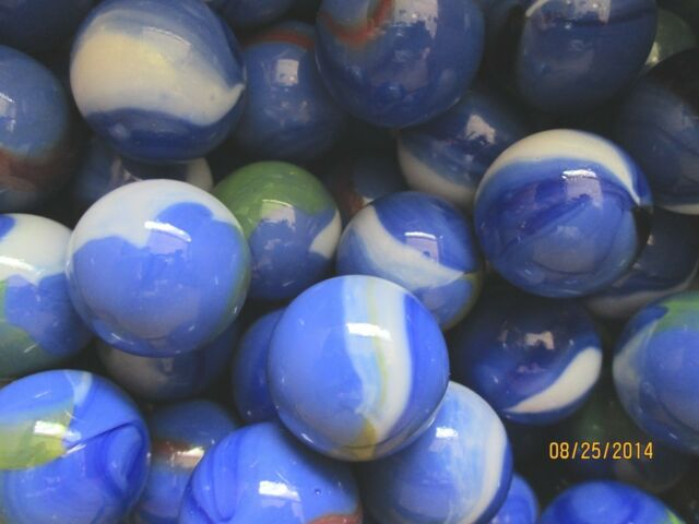 2 POUNDS OF ONE INCH SHOOTER MARBLES BLUE DOLPHIN MEGA MARBLES FREE SHIPPING