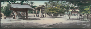 Japan-Panoramic-View-of-a-Japanese-Temple-Vintage-silver-print-Vue-panoramiqu