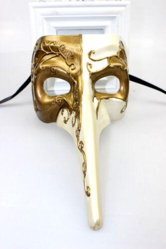 Da Uomo Naso lungo Masquerade Maschera Veneziana Mardi Gras IVORY /& GOLD Fancy Dress New
