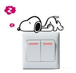 FD840-Snoopys-Dog-Style-Switch-Light-Funny-Wall-Decal-Vinyl-Stickers-DIY-1pc