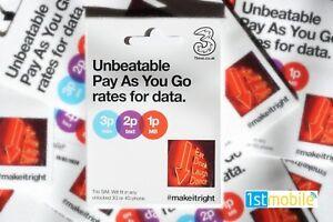 Dettagli su NUOVO 3 RETE pay as you go SIM card  nessun MENSILE Top Up,  inutilizzato di credito al passaggio del mouse- mostra il titolo originale