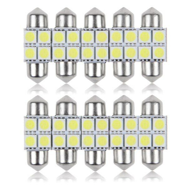 10x 5050 31mm 4SMD Car Interior Dome Festoon LED Light Bulbs Lamp White DC12V #A