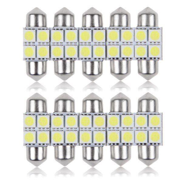 10x 5050 31mm 4SMD Car Interior Dome Festoon LED Light Bulbs Lamp White DC12V #A