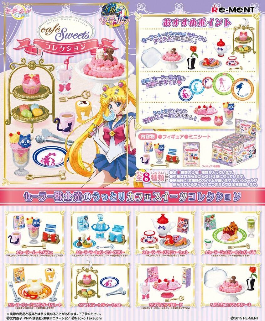 Re-ment Miniatura Sailor Moon Cristal Cafe Dulces Completo Conjunto de 8 piezas