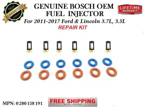 NEW 6x Fuel Injectors OEM Bosch REPAIR KIT for Ford F-150 3.5L 2011-2017