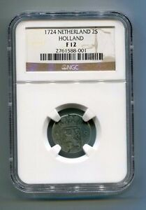 1724-NETHERLAND-2-Stuiver-HOLLAND-SILVER-Coin-NGC-F-12-Dutch-Colonial-Silver