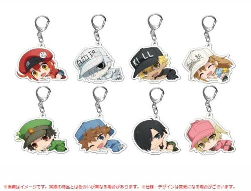 Japan Acrylic Keychain Lying ver. Cells at Work White Blood Cell