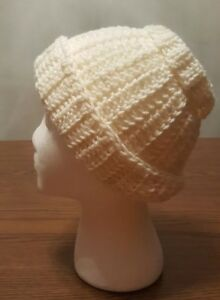 Details about Women's Ivory Colored Thick Stitch Messy Bun Beanie Ponytail  Hat Hand Crocheted