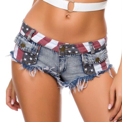 856# Woman Jean Shorts Pant USA Flag Printed Pocket Button Zipper Hole Shorts