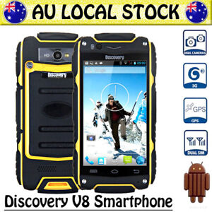 Yellow-Discovery-V8-Unlocked-Android-Rugged-3G-Smartphone-Dual-SIM-Tough-Mobile