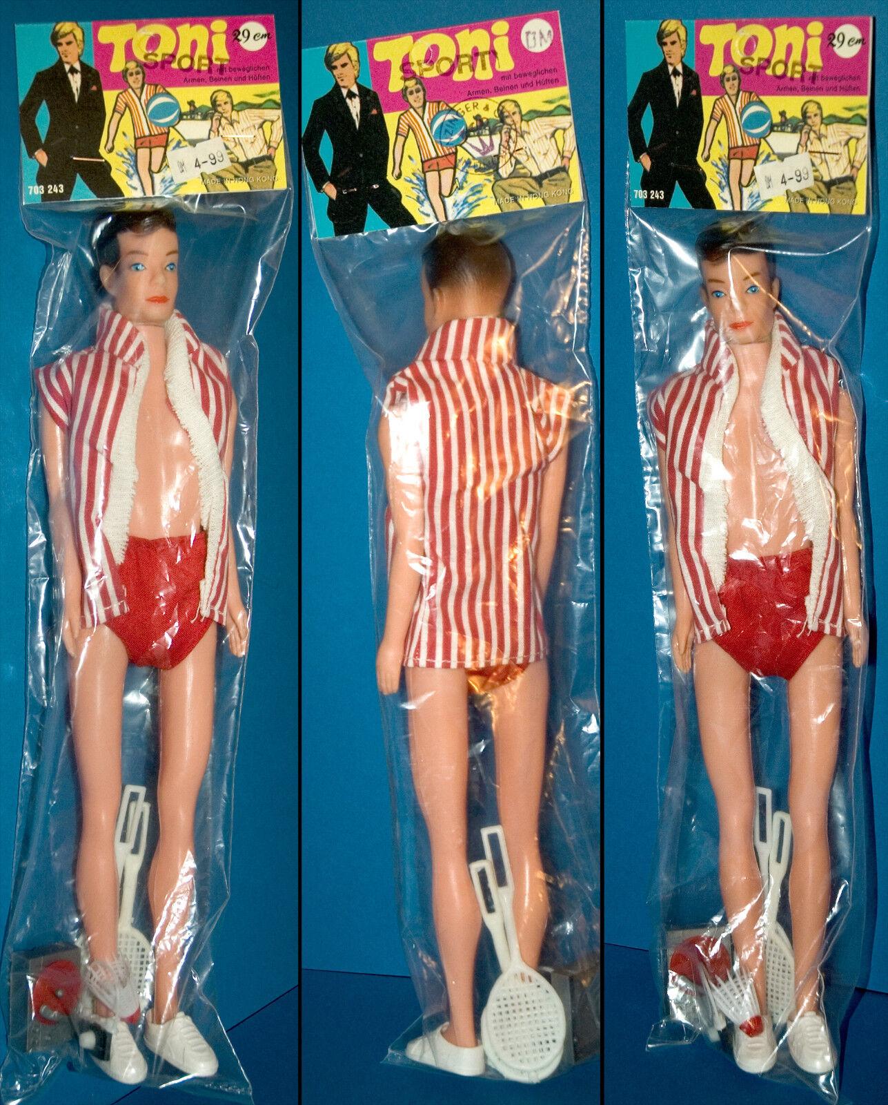 TONI SPORT 29cm PLASTIK PUPPE HONG KONG OVP 70er VINTAGE androgyn DOLL RARITÄT
