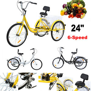 Adult-24-034-3-Wheel-Shimano-6-Speed-Tricycle-Trike-Bicycle-Bike-Cruise-With-Basket