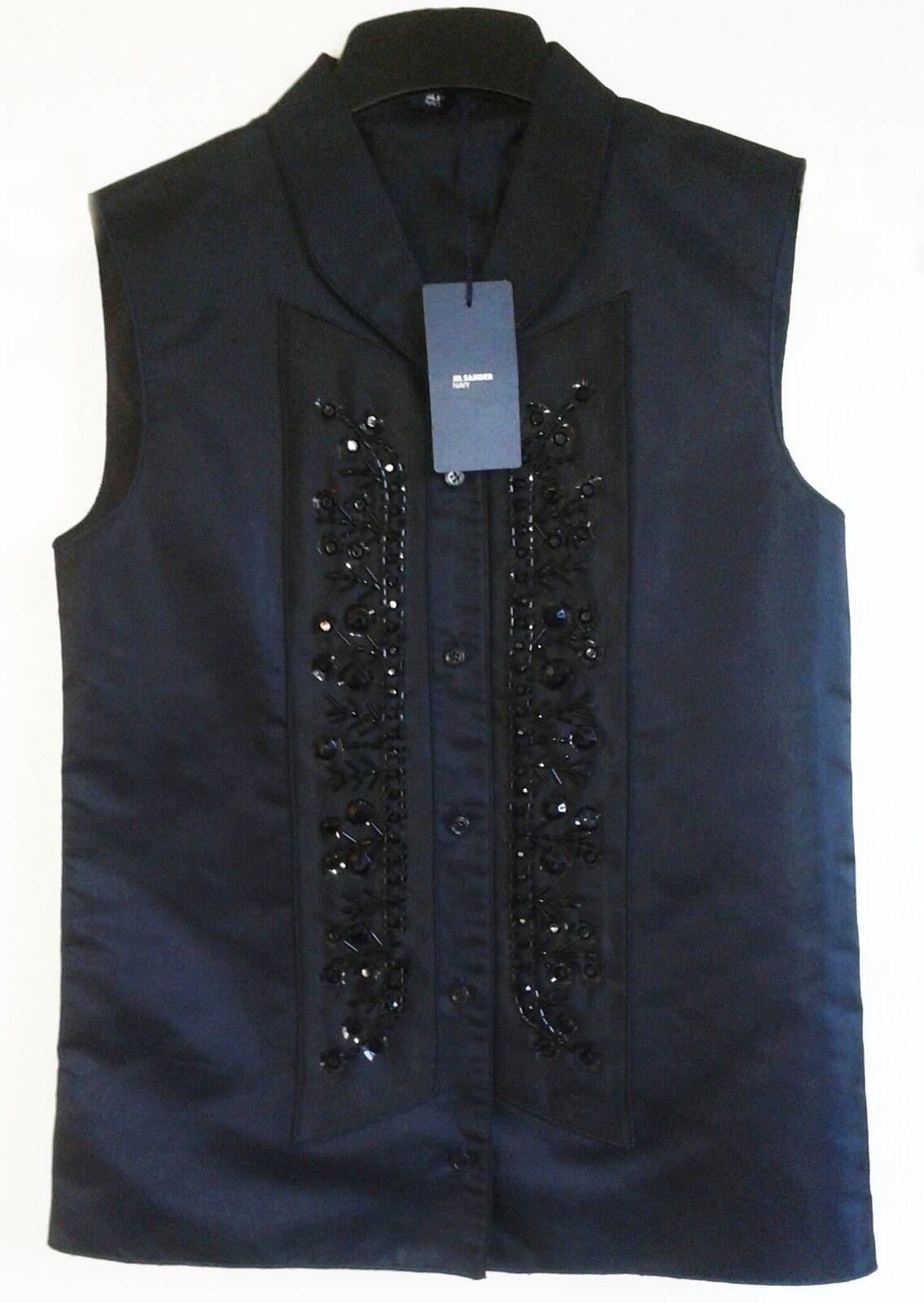 Jil Sander Navy Embellished Designer Pure Silk Top schwarz - XS   RRP