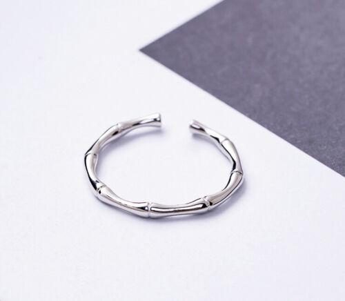 A04 schlichter Ring Bambus aus Sterling Silber 925 offen größenverstellbar