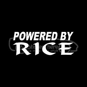 POWERED-BY-RICE-Sticker-Funny-Car-Window-JDM-Vinyl-Decal-Race-Drag-Drift-Import