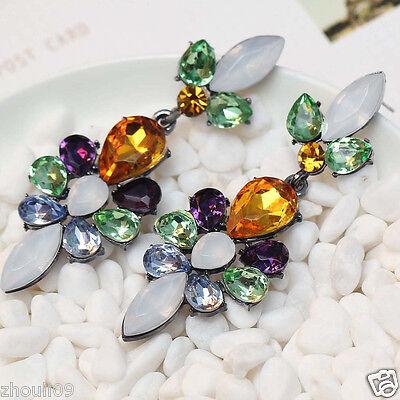"Design Lady Bib Statement clear crystal long Ear Studs earrings hot 2 5/8"" e319"
