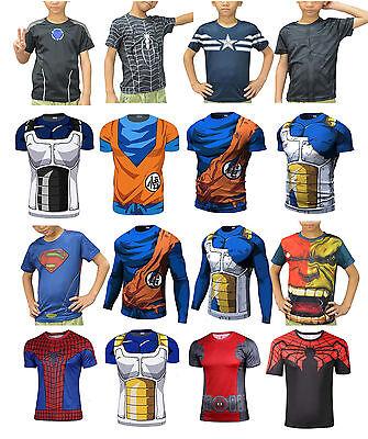 Kids Dragon Ball Son Goku Marvel Superheros Short T-Shirt Cycling Vegeta  Batman