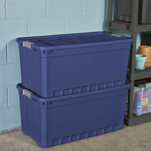 Image Is Loading 3pk Plastic Storage Containers Large Blue 50 Gallon