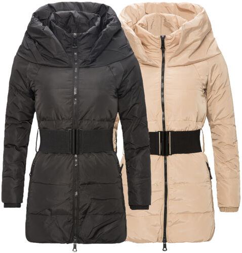 Inverno PIUMINO CAPPOTTO DA DONNA steppmantel giacca collo alto con cintura d115