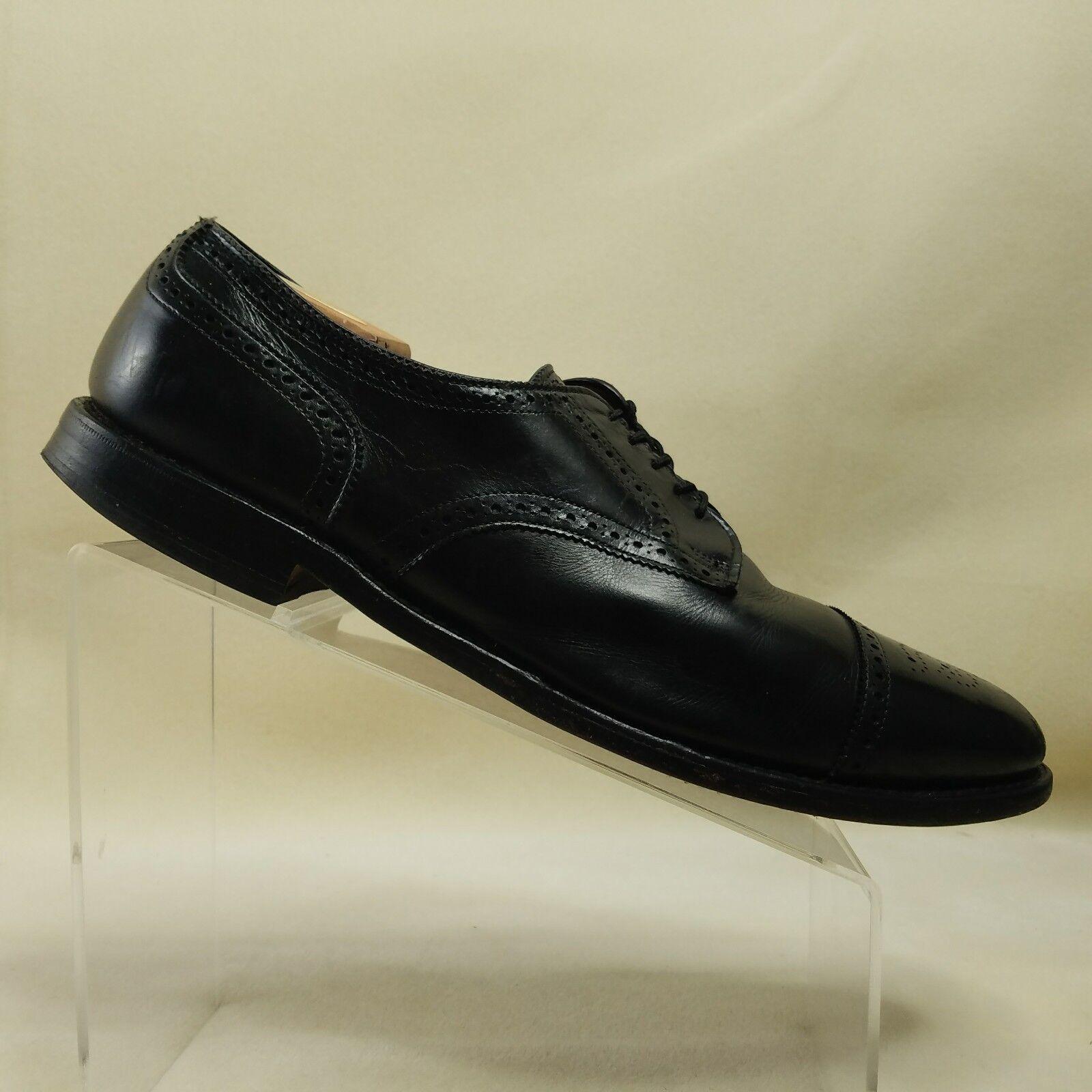 Allen Edmonds para hombre Negro Cuero punta del ala Oxford Zapatos Sanford B  D49