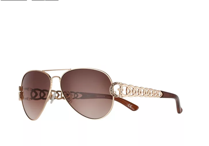 Guess Gold Chain Temple Wrap Gradient Brown Woman's Sunglasses S2707