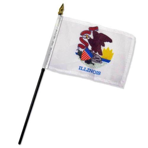 """sewn edges Illinois State Flag 4/""""x6/"""" Desk Table Stick"""