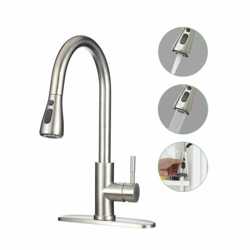 Commercial Kitchen Faucet Stainless Steel Single Handle with Pull Out Sprayer