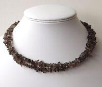 Smokey Quartz Long Line Necklace 37 Length Brown Colour