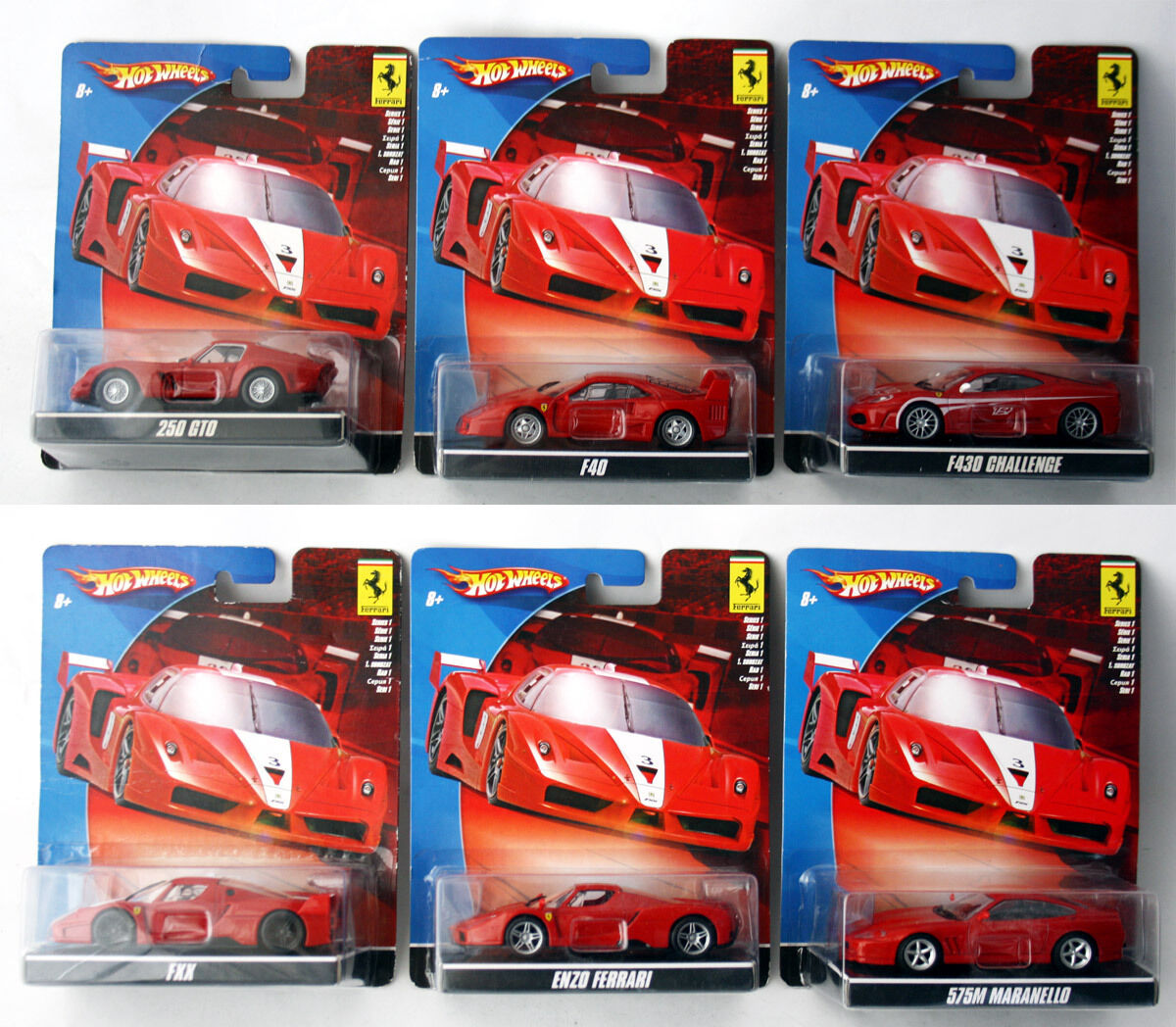 6X RARE 2008 varm HJULER FERRARI 250 GTO F40 F430 FXX ENZO 575M 1 43 MATTEL NEW