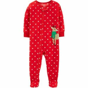 098905f3c NWT Carters Reindeer Baby Girls Red Christmas Footed Fleece Pajamas ...