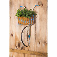 Metal Wall Art Decorative Sculpture Bicycle Front Basket Planter 30.5 X 22.1