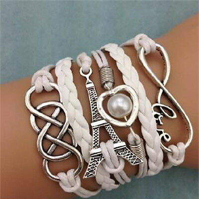 Fashion Love Heart Tower Friendship Antique Silver Leather Charm Bracelet