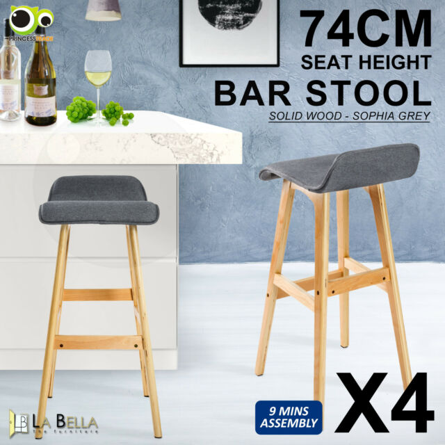 4X Wooden Bar Stool Bentwood Barstools Dining Chair Kitchen Fabric SOPHIA GREY