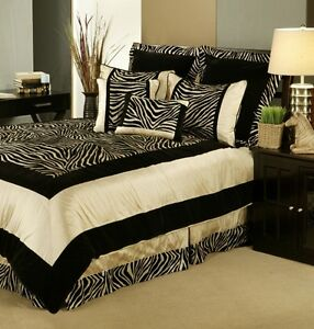 Details about 7pc Black/Taupe Velvety Animal Print Comforter Set Queen King  Cal King