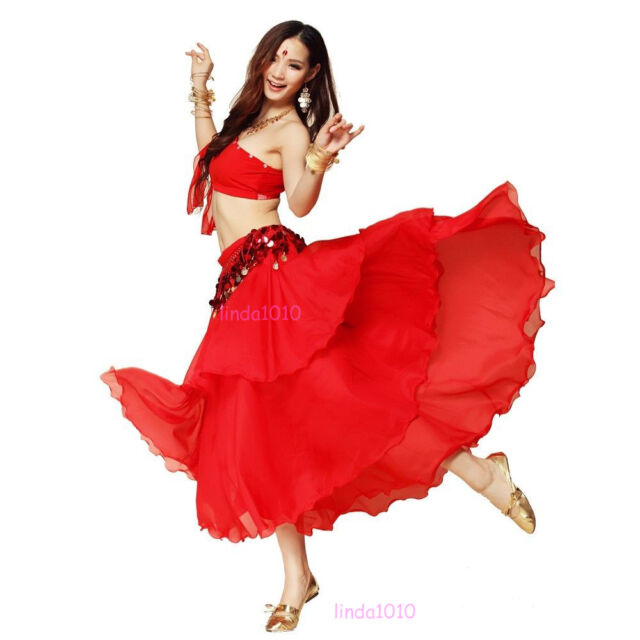 Chiffon Dancing Costume Belly Dance Spiral Long 3 Layers Skirt Top Belt 9 Colors