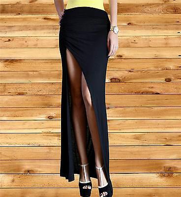 Long maxi black skirt minimalist thigh high slit ruched skirt Fitted Split mediu