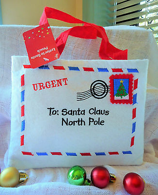 URGENT WHITE & RED FETL LETTER TO SANTA POUCH WITH THE CUTE CHRISTMAS STAMP