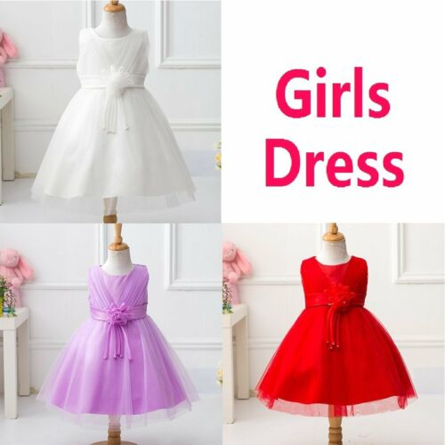 Girls Sleeveless Dress Formal Party Wedding Bridesmaid Christening Adorable Best