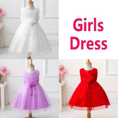 Girls Sleeveless Dress Formal Party Wedding Bridesmaid Christening Adorable 68