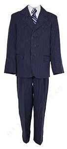 Garçons 5 Pc Bleu Marine Ensemble Costume à Rayures Tailles 4 - 20 ... 0aa04483b34