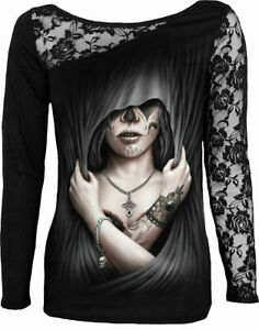 Spiral-Direct-DEAD-LOVE-Womens-Long-Sleeve-Lace-Goth-Tattoo-Biker-Top-Clothing