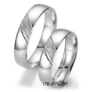 14K Oro Blanco Diamante a Conjunto Anillos de Matrimonio Él y Ella Set Alianzas