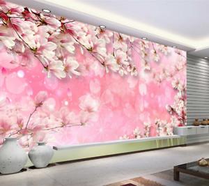 Papel Pintado Mural De Vellón Pétalos Magnolia De pink 2 Paisaje Fondo Pansize