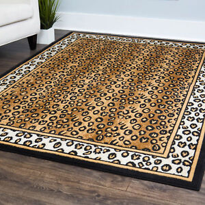 Contemporary Leopard Skin Animal Print Area Rug Modern