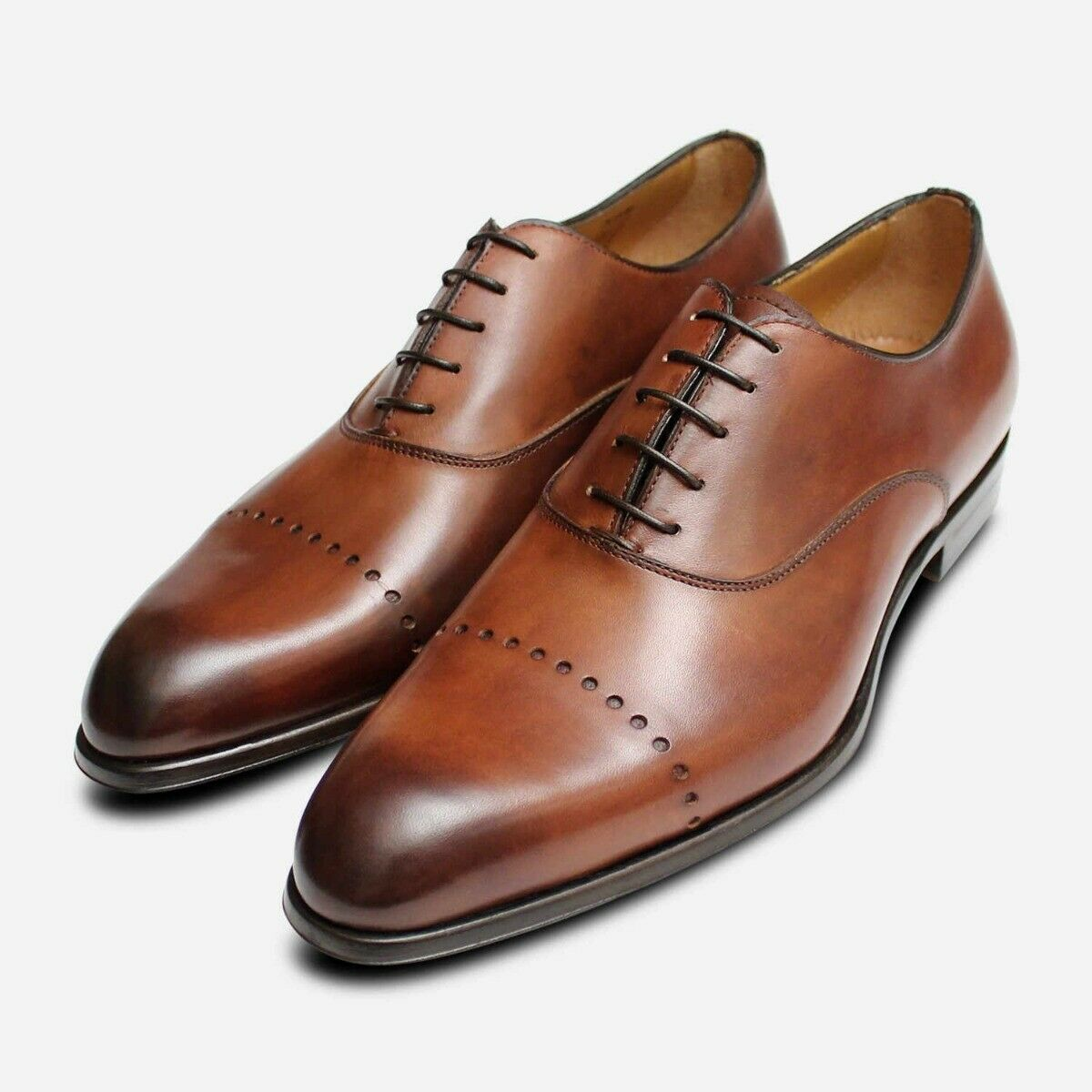 Formal Italian Oxford Lace Shoes Brown Leather